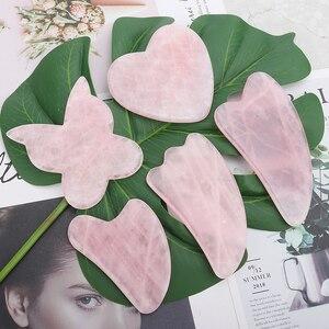 Rozenkwarts Jade Guasha Board Natuursteen Schraper Chinese Gua Sha Gereedschap Voor Gezicht Hals Back Body Acupunctuur Druk Therapie(China)