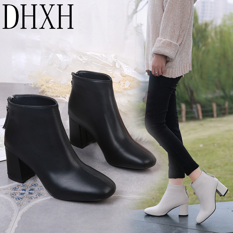 DHXH 2020 Ladies Autumn Boots Flat Leather Boots Women's Round Toe Boots Children Martin Boots Wedge Zipper Women's Boots