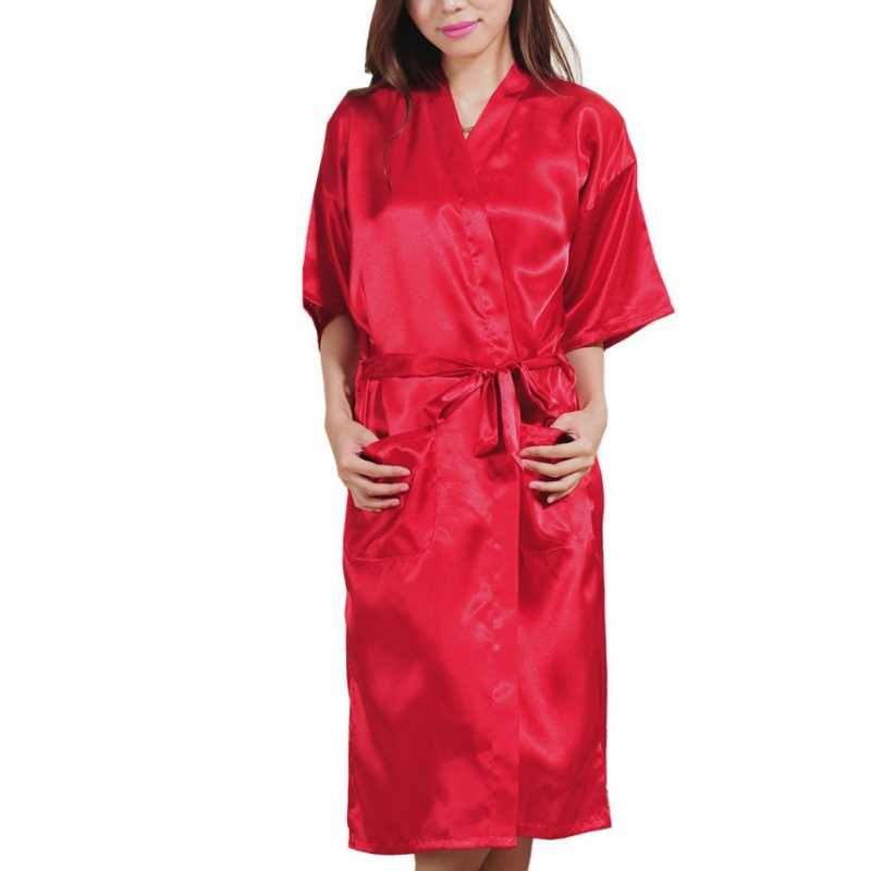 Fashion Robes Solid Color Women's Night Robe Japanese Kimono Style Sexy Artificial Silk Bathrobe Nightdress New S