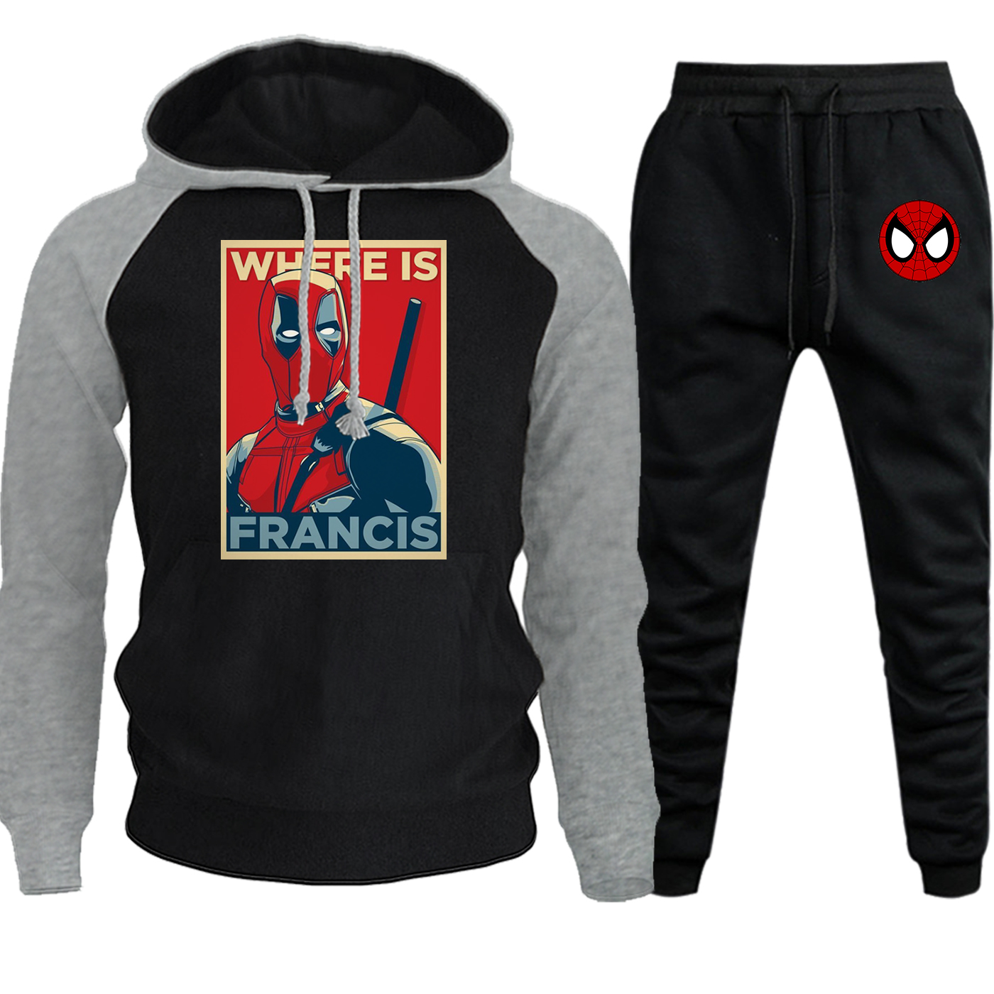 Deadpool Marvel Hip Hop Sweatshirts Mens Raglan Hooded New Autumn Winter Casual Pullover Suit Fleece Hoodie+Pants 2 Piece Set
