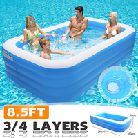 Family Home Backyard Inflatable Swimming Pool 260x160x60/72cm 3/4 Layers Outdoor Indoor Adults Kids Pool Bathing Tub Ball Pool