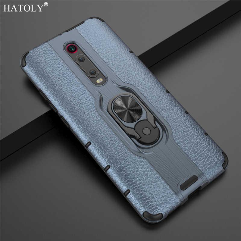 """מקרה עבור Xiaomi Mi 9 T פרו מקרה מתכת טבעת מחזיק טלפון פגוש מקרה עבור Xiaomi Mi 9 T פרו דק במיוחד חזרה כיסוי Mi 9 T Pro 6.39"""""""