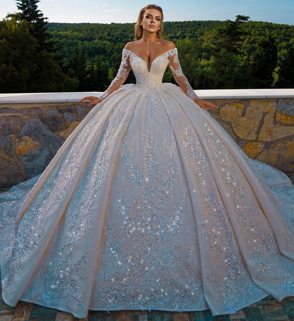 Sexy Church Wedding Dresses V Neck Long Sleves Glitter Sequins Beadings Bridal Wedding Gown Plus Size Ruffles 2021 1