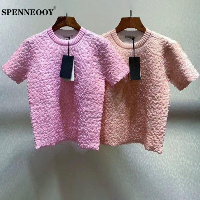 SPENNEOOY дизайнерские женские летние однотонные футболки для отдыха на заказ, Женские топы с коротким рукавом и рюшами, элегантная повседневна