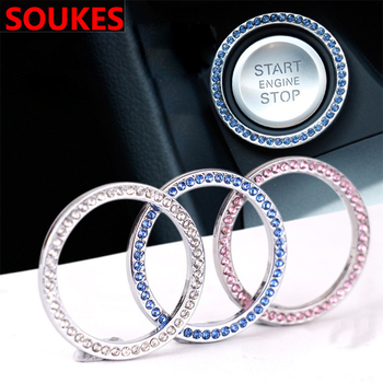 1PCS Car Start Button Decorative Ring Diamond Sticker For Mercedes W203 W211 W204 W210 Benz BMW F10 E34 E30 F20 X5 E70 x6 x1 x3 image