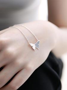 Necklace Jewelry Pendant Choker Anniversary Romantic 925-Sterling-Silver Minimalist Butterfly