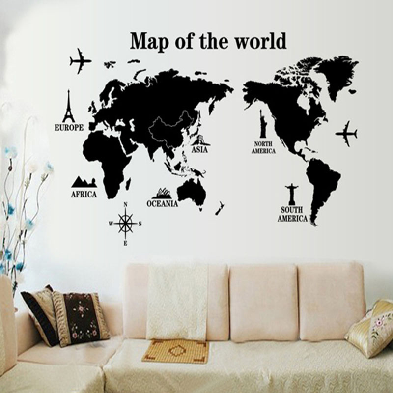 Large Size World Map Wall Stickers Black Map of The World Home Decor for Kids Room Travel Airplane Wall Decals for Bedroom Mural image