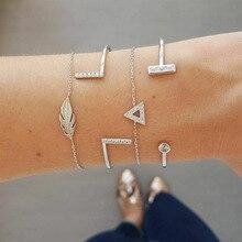 Fashion Bangle chain link Bracelet with zinc alloy for  Women silver crystal chain bracelet set Jewelry Accessories wholesale цена 2017