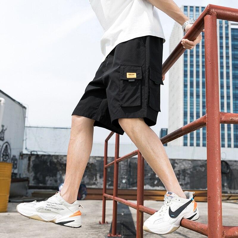 Streetwear Summer Men Casual Shorts 2020 Cargo Mens Shorts Multi-pockets Knee Length Bermuda Beach Shorts For Man