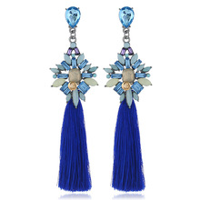 Europe and The United States New Fashion Long Tassel Earrings Cross-border Popular Retro Earrings Jewelry Women Models europe and the united states simple fashion men and women smooth face earrings cross shaped retro silver gold cross earrings