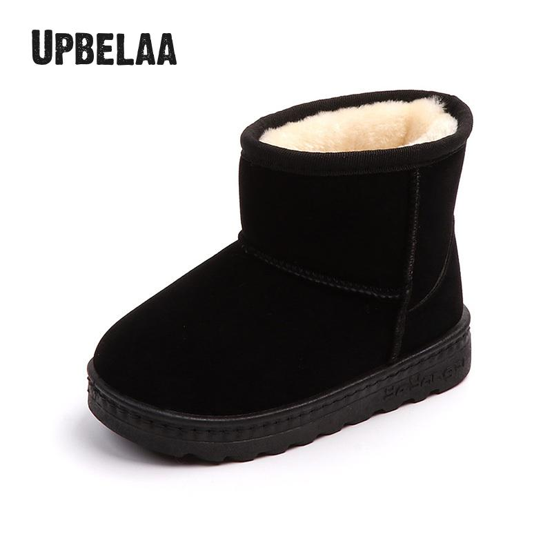 Girls Snow Boots Ankle Plush Warm Winter Kids Shoes Boys Cotton Boots Infant Toddler Shoes Casual Children Boots Flats Non-slip