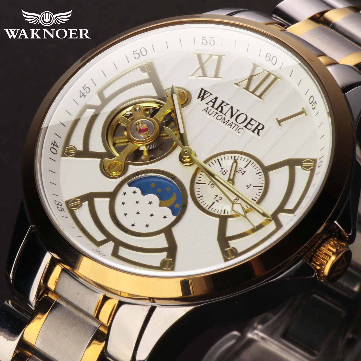 WAKNOER Automatic Mechanical Watch Men Stainless Waterproof Moon Phase Luminous Luxury Business Tourbillon Montre Homme Clock