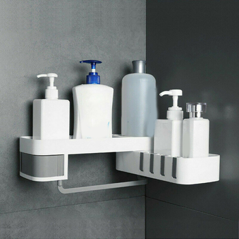 Ã�ラスチックシャワー棚シームレス回転パンチ送料ロータリー多機能バスルーム棚コーナーバス収納ホルダー