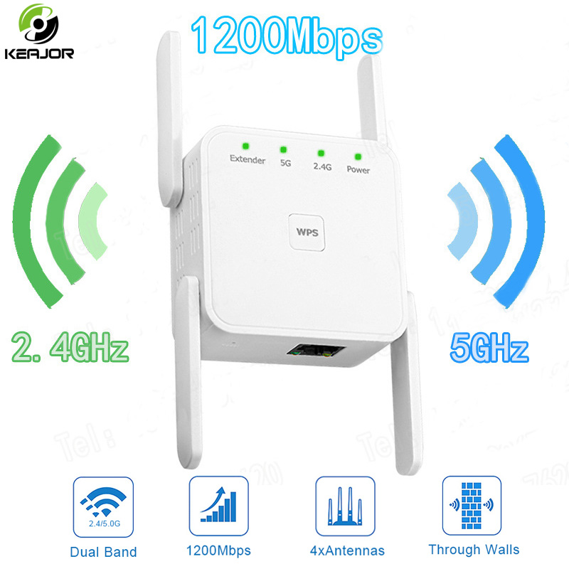 Wireless Wifi Repeater Wifi Signal Booster 2.4G/5Ghz Wifi Amplifier 1200Mbps Wifi Long Range Extender 802.11N With 4 Antennas