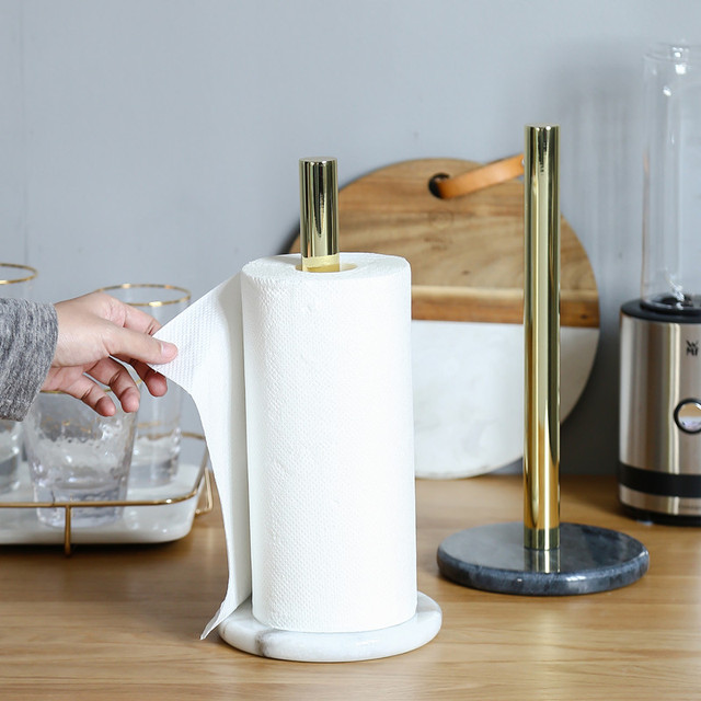 Luxus natürliche marmor küche papier handtuch stehen, vertikale papier halter, messing esstisch rollen halter