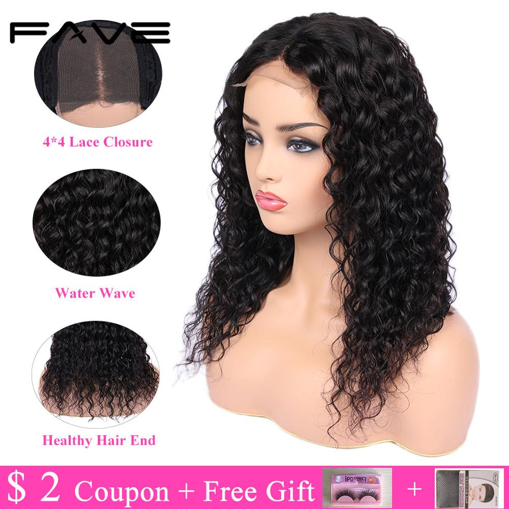 FAVE Closure Wigs 100% Brazilian Remy Human Hair Wig 4*4 Lace Closure Water Wave Wigs Pre Plucked Bleached Knots For Black Women-in Human Hair Lace Wigs from Hair Extensions & Wigs    2
