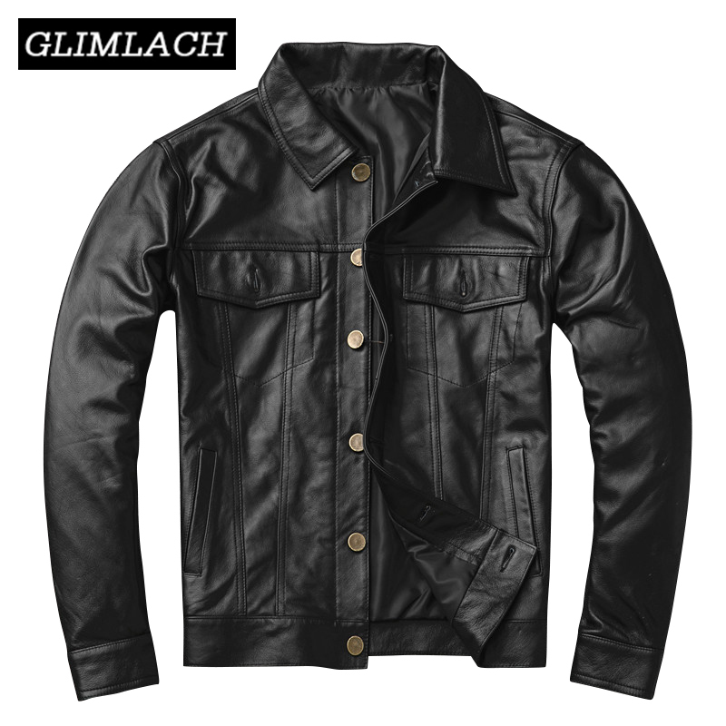 Quality Men Cowhide Genuine Leather Coat Plus Size 4XL Motorcycle Jacket 2019 Clothing Slim Black Cowskin Real Leather Jackets