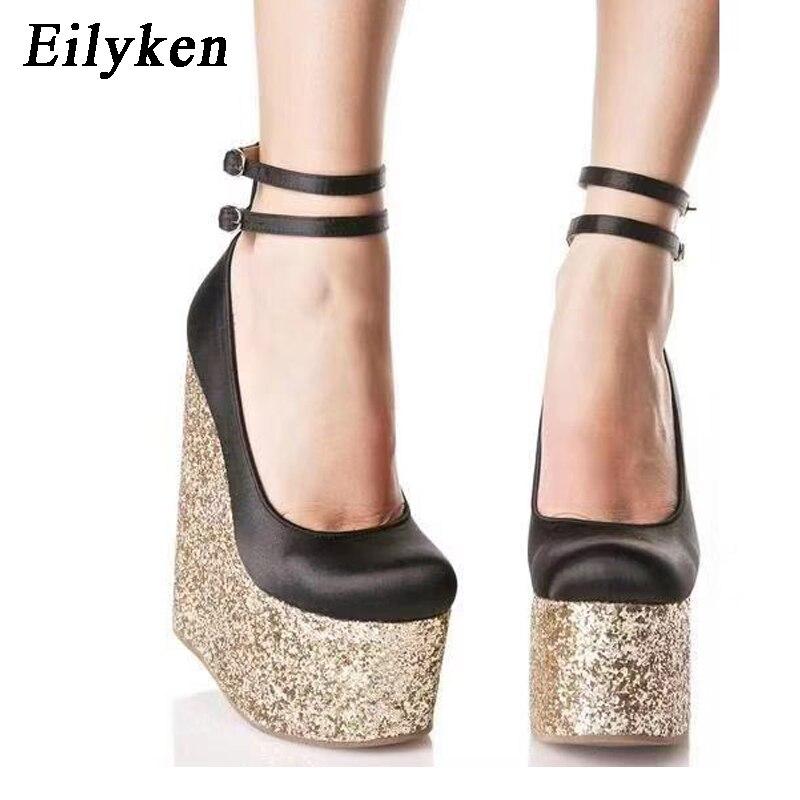 Eilyken Silk Wedges Platform High Heels Pumps Fetish Round toe Pumps Extreme high heels Pumps Women Shoes Spring, Autumn