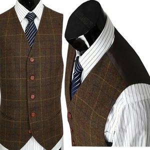 Image 4 - 2020 Bruin Koffie Wol Blend Notch Revers Twee Knop Pakken 3 Stuks Vintage Tweed Formele Peaky Blinder Herenpakken