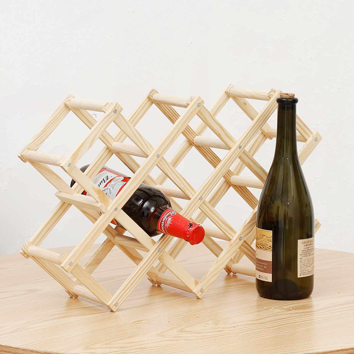 Foldable Wooden Wine Racks Bottle Cabinet Stand Holders Wood Shelf Organizer Storage Living Room Retro Display Cabinet