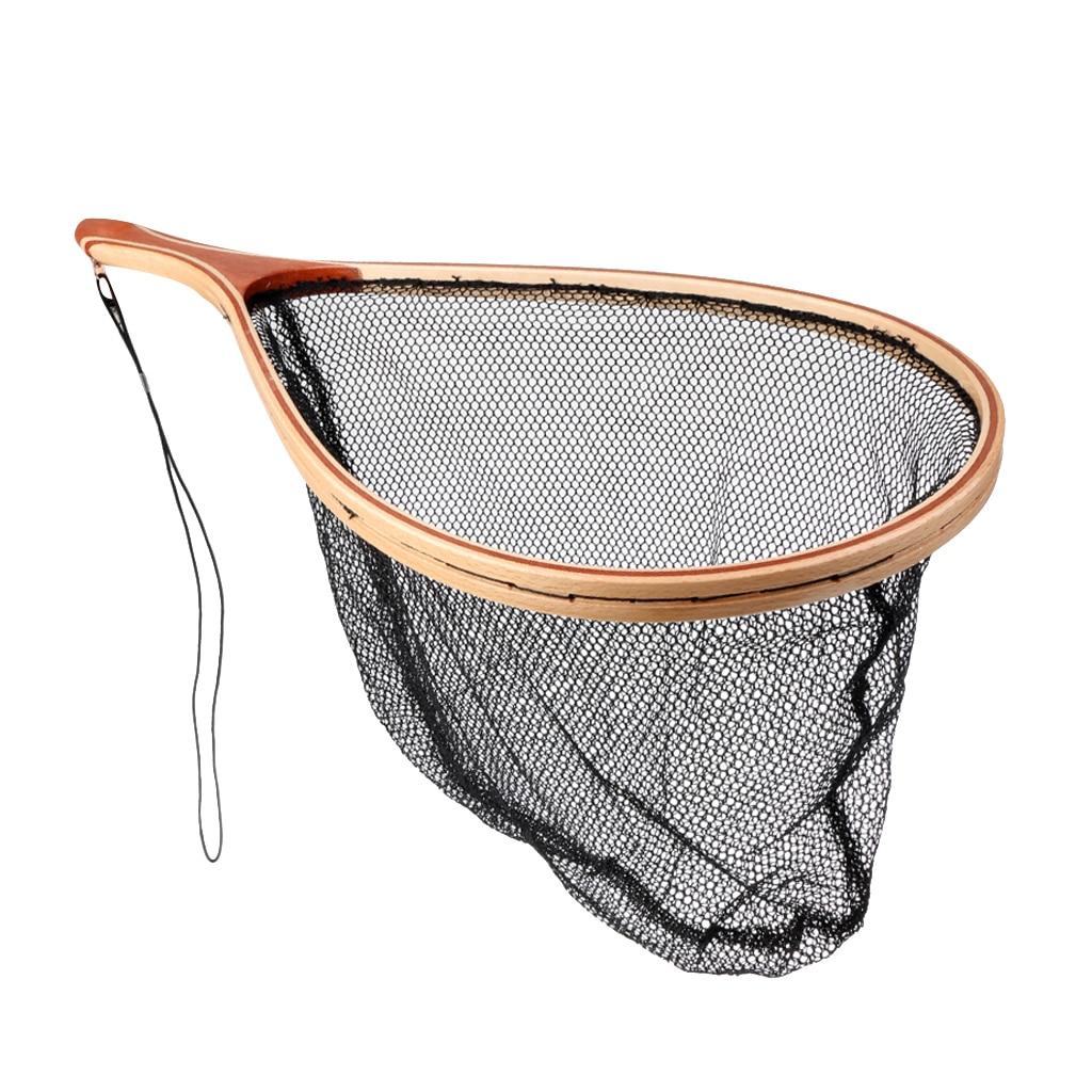 Ahşap saplı sinek balıkçılık tor ağı balık ağı örgü yakalamak ve serbest bırakmak balıkçılık aracı kordon ile