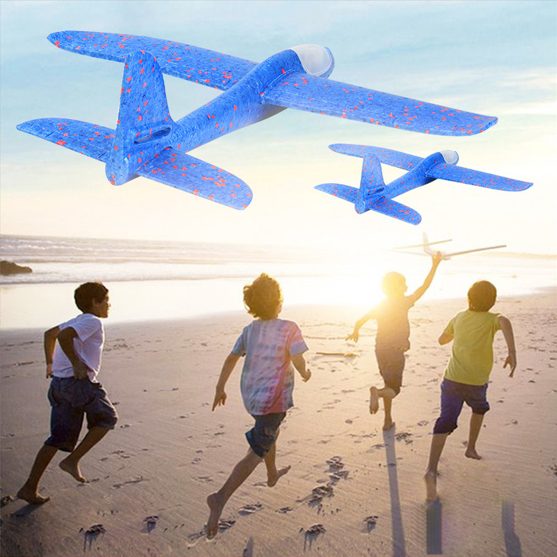 BalleenShiny 48 CM Hand Throw Airplane EPP Foam With Light Fly Glider Planes Model Aircraft Outdoor Fun Toys  Gift For Children