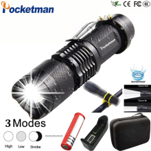 LED Flashlight 8000LM Q5 T6 L2 Mini Portable Torch Adjustable Zoom Flash Light Lamp use 14500 18650 battery for Bike light z90