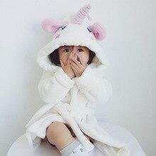 Mother & Kids Winter Bathrobes White Unicorn Robe For Family