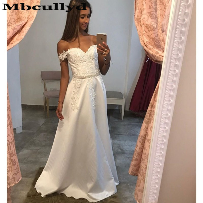Mbcullyd Luxury Satin A-line Wedding Dress 2019 Sexy Off Shoulder East Vestido De Noiva With Beading Belt Plus Size Bridal Gowns