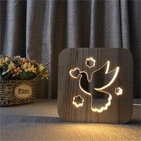 Pigeon Bird Decor 3D Nightlight Wooden Frame Night Light Customized Decorative LED Lighting USB Table Desk Lamp Gift Dropship