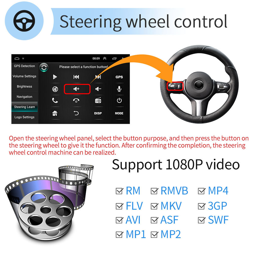 Image 4 - Podofo Android 2din Car Radio Audio Stereo Car Autoradio GPS Navigation Bluetooth WIFI Mirrorlink MP5 Player Radio Car Autoradio-in Car Multimedia Player from Automobiles & Motorcycles