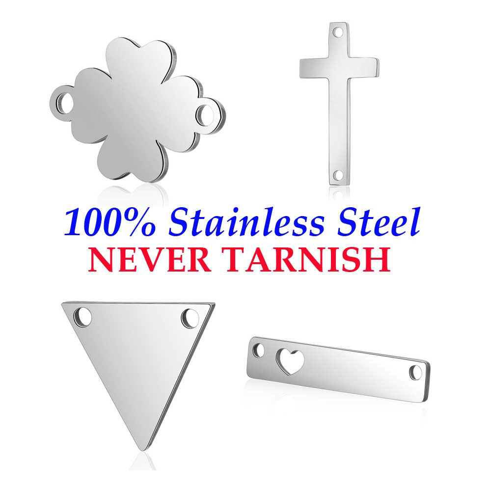 10 Pieces Cross Triangle Round Disc Connector Wholesale 100% Stainless Steel High Polished Real 316 Steel DIY Connector Charms
