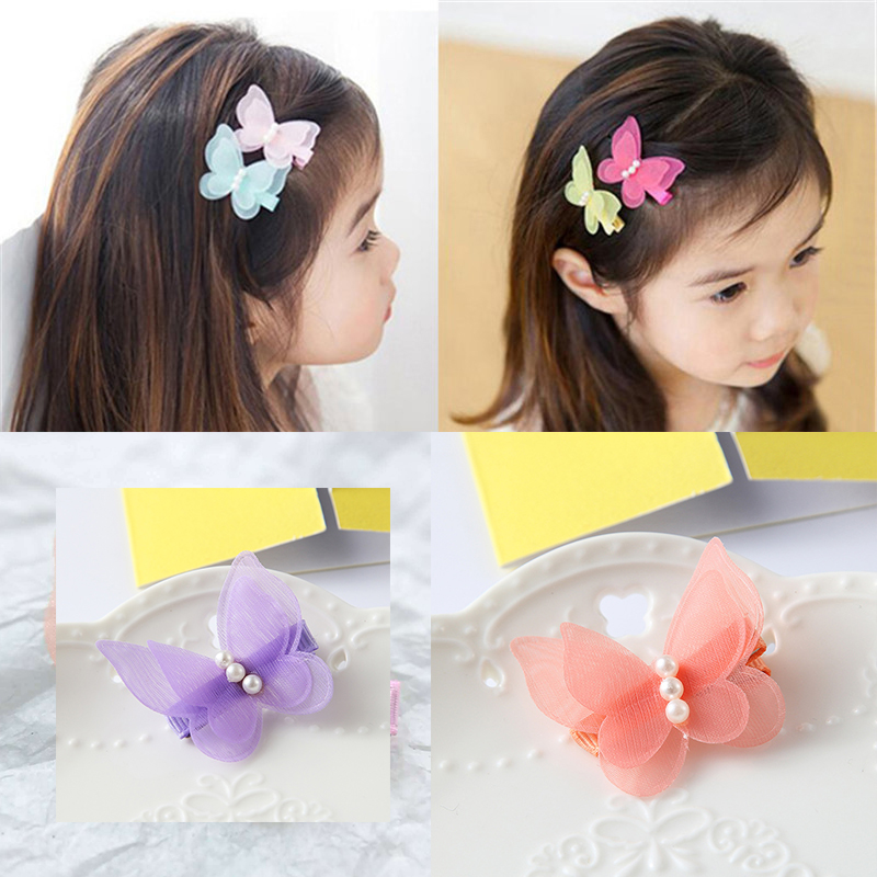 5 Colors Optional Baby Butterfly Shaped Girls Princess Pin Cute Animals Kids Head Hair   Accessories Sweet Head Wear For Girl