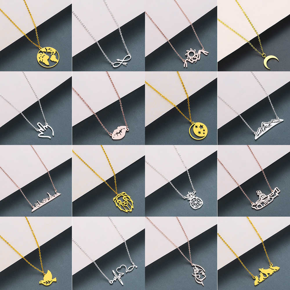 Todorova Boho Mouse Mickey Necklaces for Women Eagle Horn Moon World Map Heartbeat Necklace Jewelry Animal Accessories Gifts