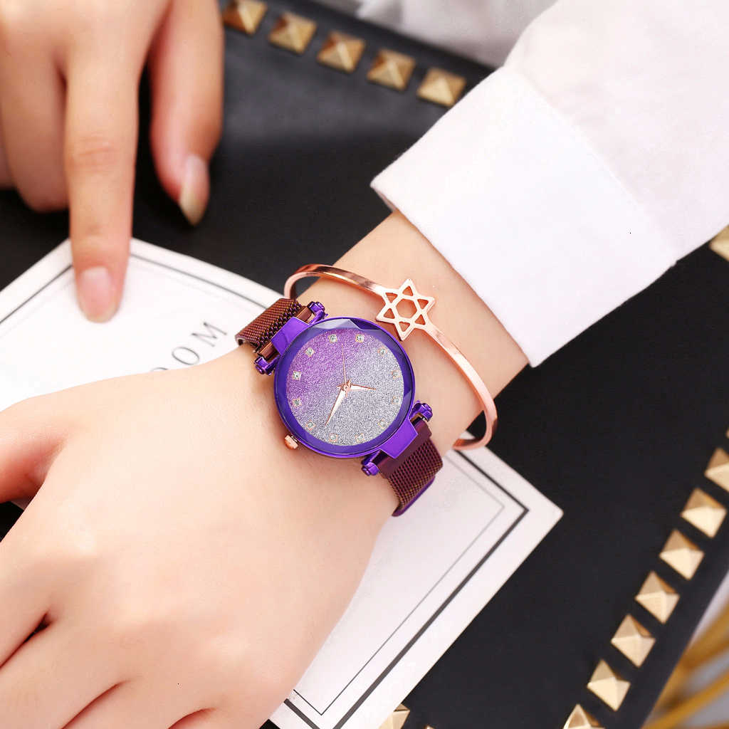 Mulheres Ímã Fivela Céu Estrelado Gradiente Quadrado Relógio De Diamantes De Luxo Senhoras Relógio de Quartzo do Aço Inoxidável Relógio Relogio feminino