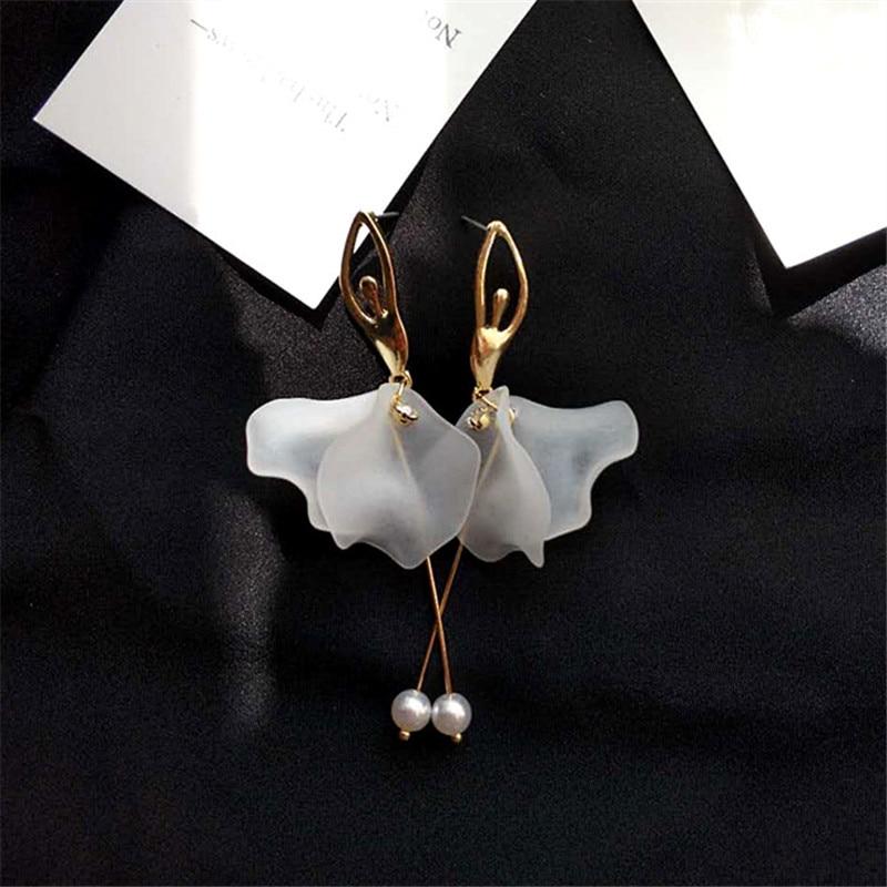 Fashion Tassel Pendant Earrings Cute Romantic Acrylic Long Dancing Girl Earrings Minimalist Style Dangle Earrings Women Jewelry