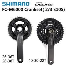 Велосипедный комплект SHIMANO DEORE FC M6000 2x10 3x10 Speed, mtb шатун с нижним кронштейном BB52 40 30 22T 26 36T 28 38T 170 мм, детали для велосипеда