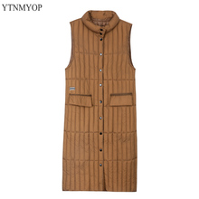 YTNMYOP 2019 Stand Collar Women Winter Vest Warm Long Waistcoat Sleeveless Jacket Coat Outwear High Qulity Wadded Female