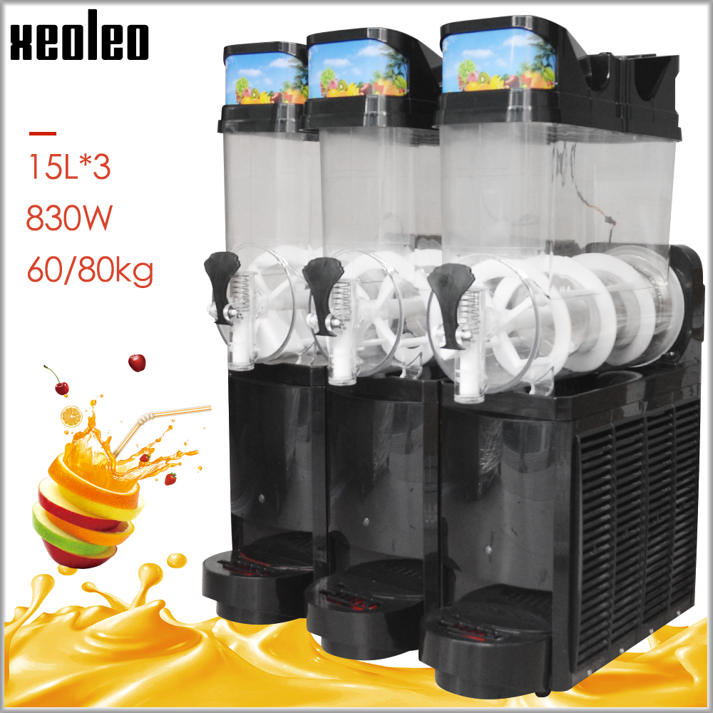 XEOLEO 15L*3 Tank Ice Slusher Commercial Slushing Machine Smoothie Maker Ice Cream Snow Melting Machine Smoothie Granita Machine