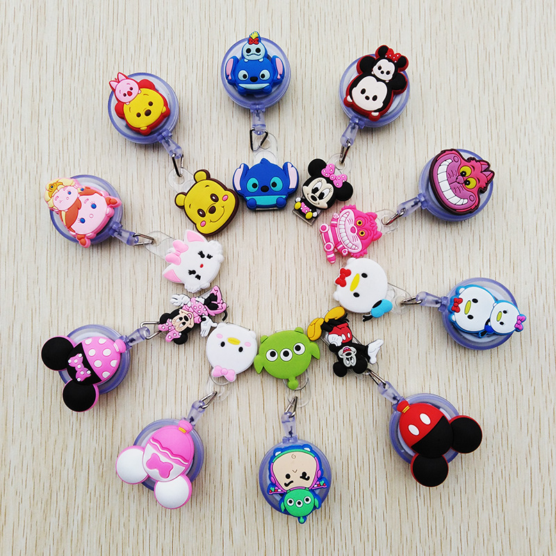 1 Pcs/lot New Creative Cartoon Animal Retractable Pull Badge Reel ID Name Tag Card Student Badge Holder 2020 Lovely Kids Reels