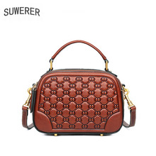 цена на SUWERER genuine leather women bags for women 2019 embossed fashion luxury women bag designer bags women leather shoulder bag