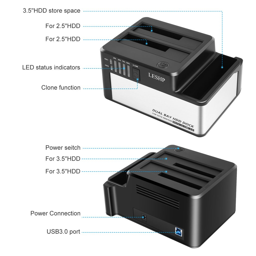 """Dual Bays HDD Dock USB 3.0 to SATA HDD SSD Docking Station with Clone for 2.5"""" & 3.5"""" SATA HDD & SSD Hard Drive Disk Case Dock"""