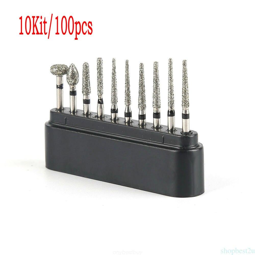 10Kit/100pcs Creamics/Composite Polishing Dental Diamond Burs Drill Kit High-Speed