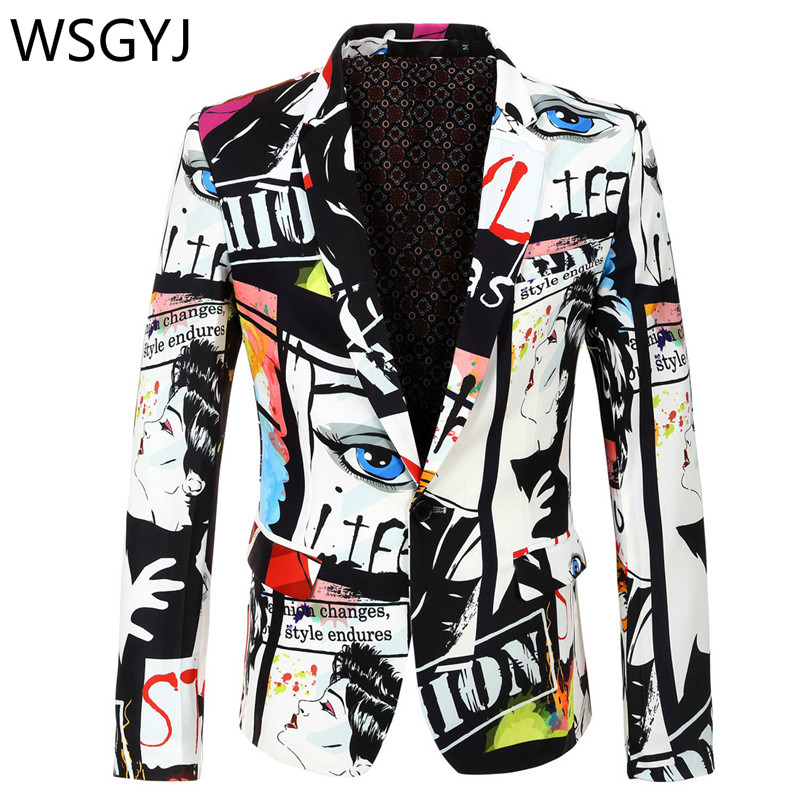 Brand Suit Jacket Fashion Print Men Blazer Best Selling Slim Fit Casual Blazer Homme Coat Hip Hop Singer Flower Blazer