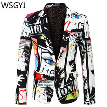 Brand Suit Jacket Fashion Print Men Blazer Best Selling Slim Fit Casual