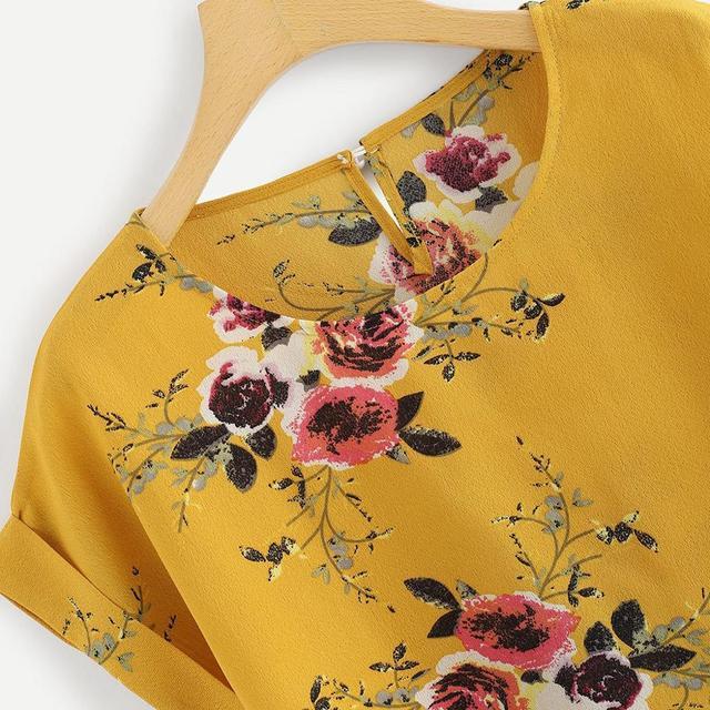 Summer Fashion Floral Print Blouse Pullover Ladies O-Neck Tee Tops Female Women's Short Sleeve Shirt Blusas Femininas Clothing 5