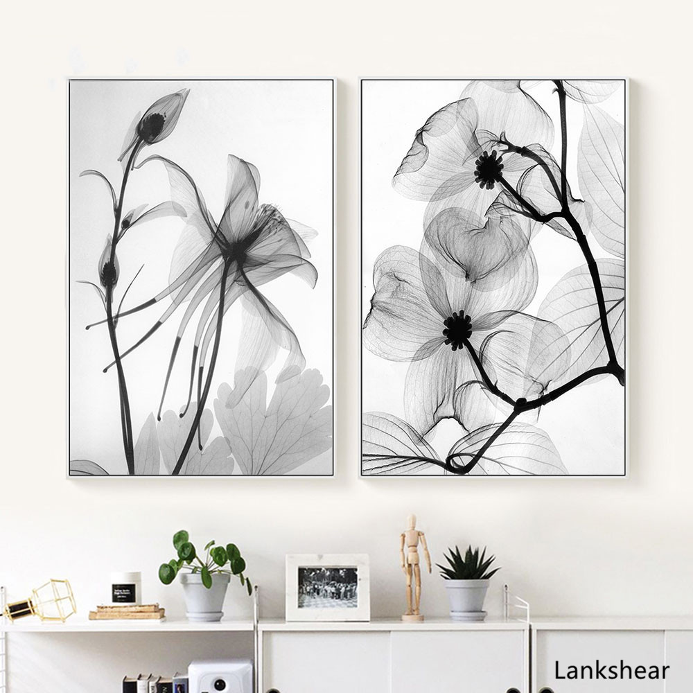 Nordic Black White Plant Abstract Flower Posters Canvas Prints Minimalist Painting Wall Art Bedroom Home Decor Modular Pictures Painting Calligraphy Aliexpress