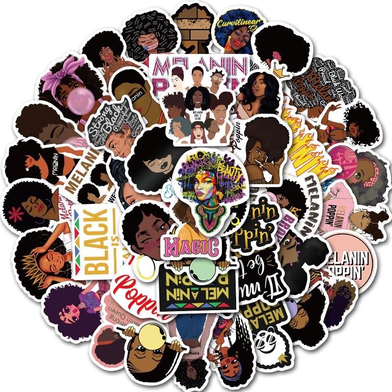 50PCS/lot Inspirational Black Girl Melanin Poppin Sticker For DIY Laptop Phone Guitar Suitcase Luggage Skateboard Stickers