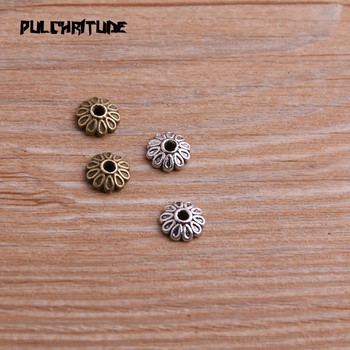 100pcs 3*8*8mm Two Color Bead Caps Charm Hollow Round Flower Pendants Jewelry Accessories DIY Receptacle Charms image