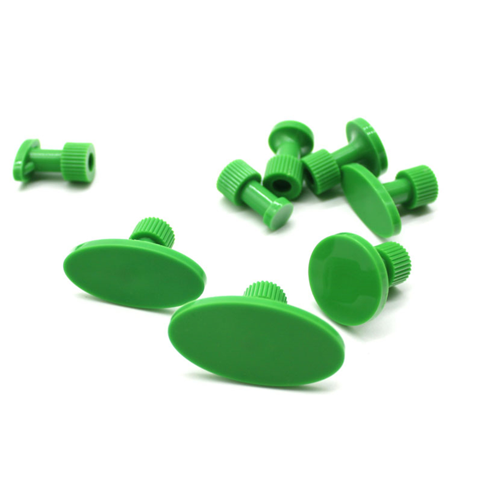 8 Pcs Green Smooth Surface Glue Tabs For Car Dent Puller System Car Hail Dent Repair Tools Set PDR Tabs